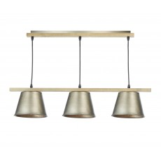 Dar Arken 3 Light Raw/Wood Pendant Light