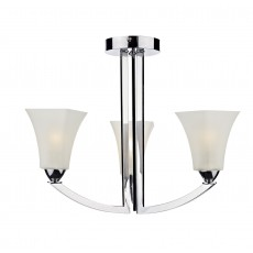 Dar Arlington 3 Light Polished Chrome Semi Flush Light