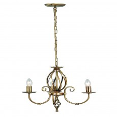 Elstead Artisan 3 Light Aged Brass Chandelier