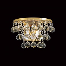 Diyas Atla Wall Lamp Switched 2 Light French Gold/Crystal