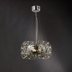 Diyas Atria Pendant 2 Light With LEDs And Remote Control Stainless Steel