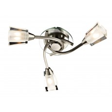Dar Austin 3 Light Satin Chrome Semi Flush Light