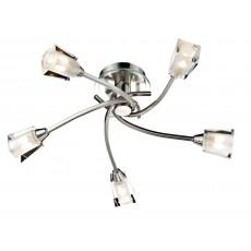 Dar Austin 5 Light Satin Chrome Semi Flush Light