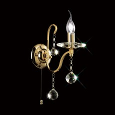Diyas Bianco Wall Lamp Switched 1 Light French Gold/Crystal