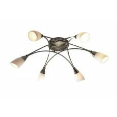 Dar Bureau 6 Light Antique Brass Semi Flush Light