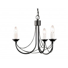 Elstead Carisbrooke 3 Light Black Chandelier
