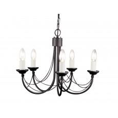 Elstead Carisbrooke 5 Light Black Chandelier