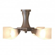 Diyas Chievo Semi Ceiling 4 Light Satin Chrome/Frosted Glass