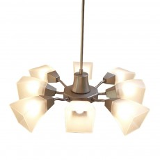 Diyas Chievo Pendant 8 Light Satin Chrome/Frosted Glass