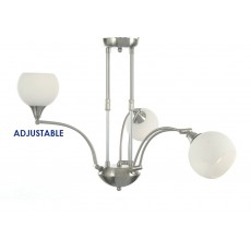Diyas Coda Telescopic Fitting 3 Light Satin Nickel/Opal Glass