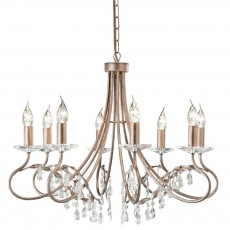 Elstead Christina 8 Light Silver/Gold Chandelier Light
