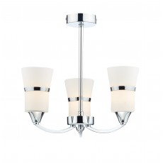 Dar Dublin 3 Light Polished Chrome Led Semi Flush Light
