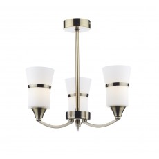 Dar Dublin 3 Light Antique Brass Led Semi Flush Light