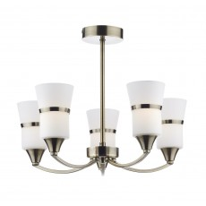 Dar Dublin 5 Light Antique Brass Led Semi Flush Light