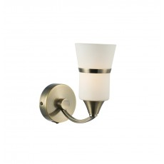 Dar Dublin Single Bracket Led Antique Brass Wall Light