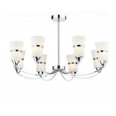 Dar Dublin 8 Light Polished Chrome Led Semi Flush Light