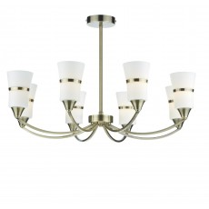 Dar Dublin 8 Light Antique Brass Led Semi Flush Light