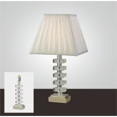 Diyas Dusit Crystal Table Lamp Without Shade 1 Light Silver Finish