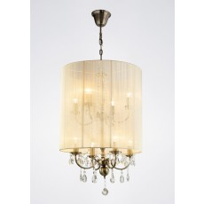 Diyas Ella Pendant With Ivory Cream Shade 8 Light Antique Brass/Crystal
