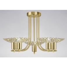 Diyas Ellen Semi Ceiling 5 Light Satin Brass/Crystal