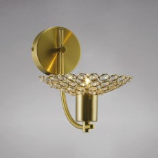 Diyas Ellen Wall Lamp 1 Light Satin Brass/Crystal