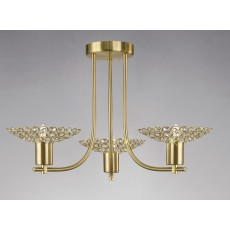 Diyas Ellen Semi Ceiling 3 Light Satin Brass/Crystal