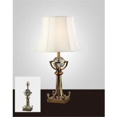Diyas Elmo Small Crystal Table Lamp Without Shade 1 Light Antique Brass
