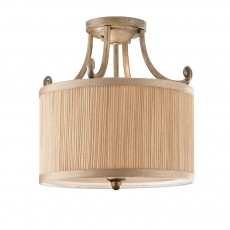 Feiss Abbey 3 Light Silver Sand Semi Flush Light