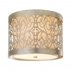 Feiss Arabesque 2 Light Silver Leaf Flush Light