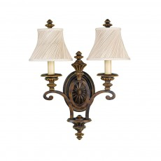 Feiss Drawing Room 2 Light Walnut Wall Light