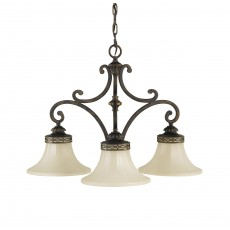 Feiss Drawing Room 3 Light Walnut Chandelier Light