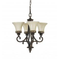 Feiss Drawing Room 4 Light Walnut Chandelier Light