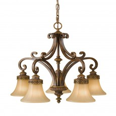 Feiss Drawing Room 5 Light Walnut Chandelier Light