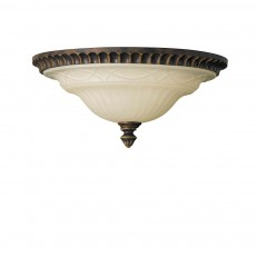 Feiss Drawing Room 2 Light Walnut Flush Light