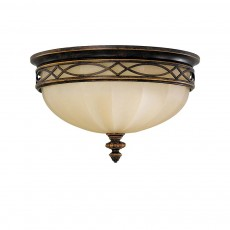 Feiss Drawing Room 3 Light Walnut Flush Light