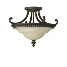 Feiss Drawing Room 2 Light Walnut Semi Flush Light