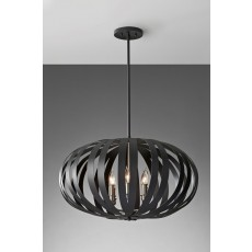 Feiss Woodstock 6 Light Textured Black Chandelier Light