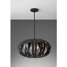 Feiss Woodstock 4 Light Textured Black Chandelier Light
