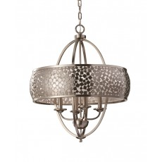 Feiss Zara/2 4 Light Brushed Steel Chandelier Light