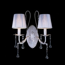 Diyas Flur Wall Lamp 2 Light White French Gold