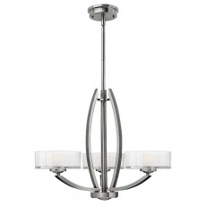 Hinkley Meridian 3 Light Brushed Nickel Chandelier Light