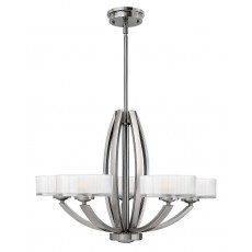 Hinkley Meridian 5 Light Brushed Nickel Chandelier Light