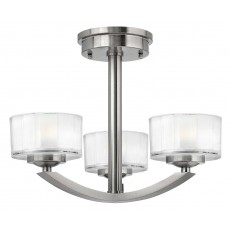 Hinkley Meridian 3 Light Brushed Nickel Semi Flush Light