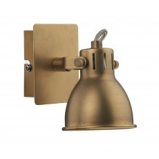 Dar Idaho Antique Brass Single Spotlight Wall Light