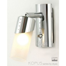 Diyas Kopus Wall Lamp Switched 1 Light Polished Chrome/Frosted Glass