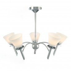 Diyas Kristina Pendant 5 Light Polished Chrome/Opal Glass