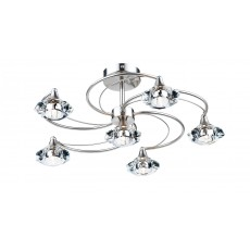 Dar Luther 6 Light Satin Chrome Semi Flush Light