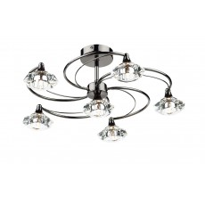 Dar LUT0667 Luther 6 Light Black Chrome Semi Flush Light