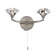 Dar Luther Satin Chrome Double Wall Light