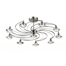 Dar LUT2367 Luther 10 Light Black Chrome Semi Flush Light
